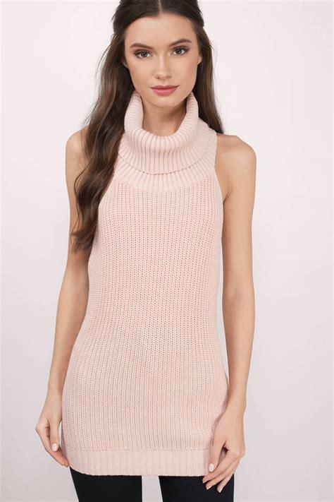 Skl2 39 S Sleeveless Cardigan turtleneck sweater pink cowl neck sweater blush sweater 25 tobi