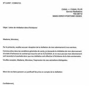 Resiliation Lettre Type Canalsat Modele Lettre Resiliation Bail Fermage Document