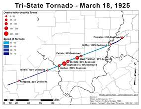 Tri State Map by The Tri State Tornado Of 1925 United States Tornadoes
