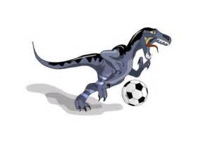 Photographic Wall Murals illustration of a raptor dinosaur playing soccer