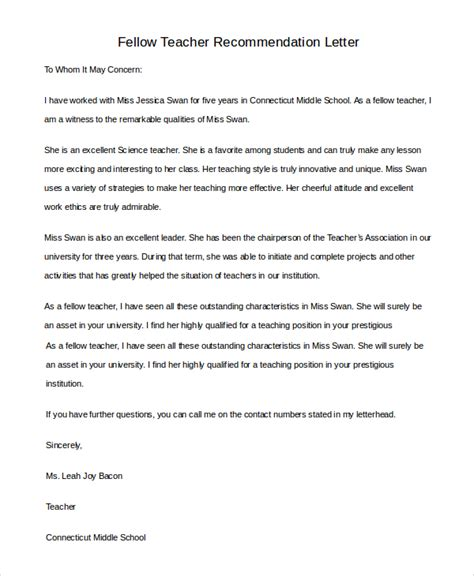 Letter Of Recommendation Research Fellow Sle Letter Of Recommendation 8 Exles In Pdf Word