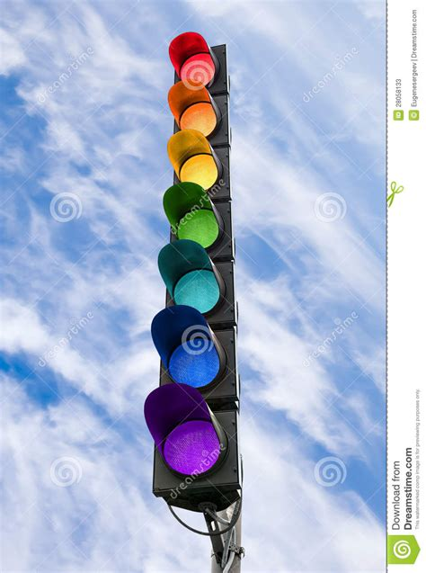 blue lights on traffic signals seven color traffic light above blue sky stock image