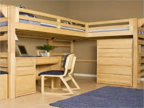 Study Loft Bunk Bed Untreated Wooden Bunk Bed Built In Ladder Combination With Rectangle Brown Wooden Side Table