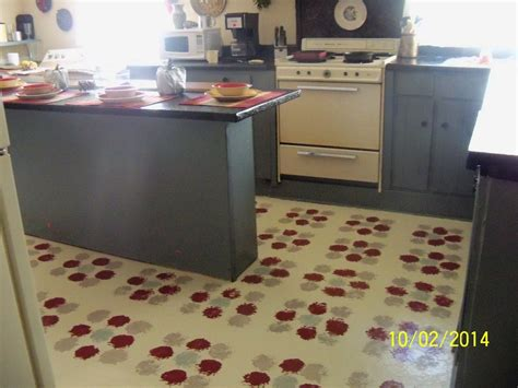 hometalk stenciling old linoleum floors