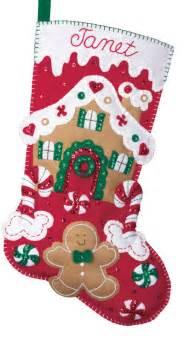 House candy canes bucilla lined felt applique christmas stocking