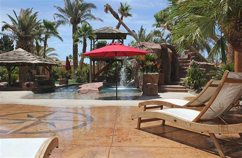 backyard beach theme concrete quot stone quot and sand finishes in a beach themed