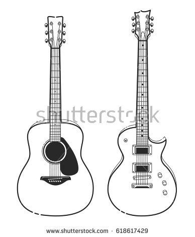 Acoustic Guitar Outline Drawing by Electric Acoustic Guitars Outline Style Guitars Stock