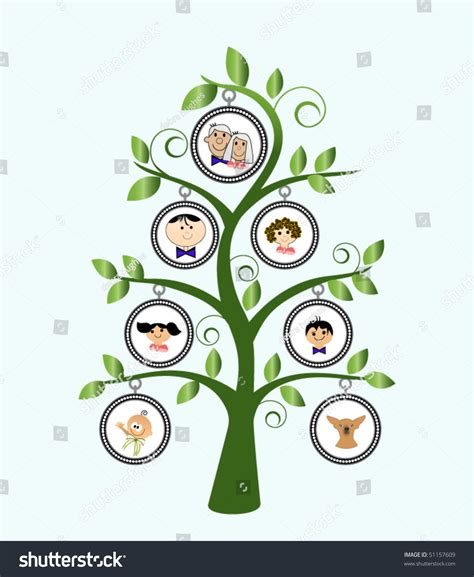 Family Tree Cartoon Family Stock Vector 51157609 Shutterstock Stock Vector Family Tree Template With Portraits Of Relatives And Place For Text On Green