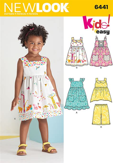 New Look 6441  Toddlers' Easy Dresses, Top and Cropped Pants