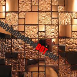 Copper Tile Backsplash For Kitchen Sle Copper Metal Pattern Textured Glass Mosaic Tile