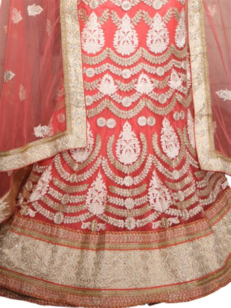 embroidery unstitched design buy peach net embroidered unstitched lehenga choli online