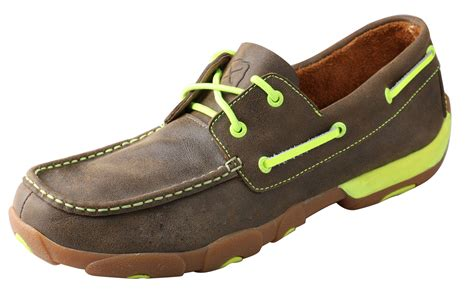 twisted x boat shoes men s twisted x shoes bomber boat shoe w neon yellow wood