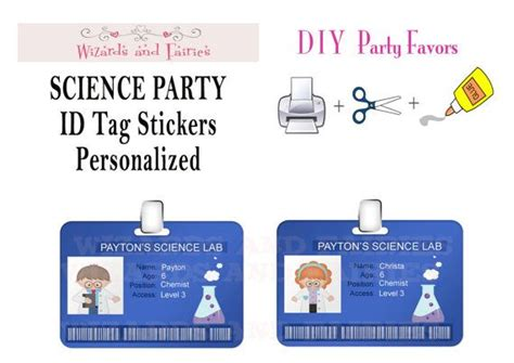 printable id card stickers mad science party id tag stickers party ideas pinterest