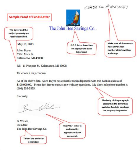 sample proof  funds letter templates   ms