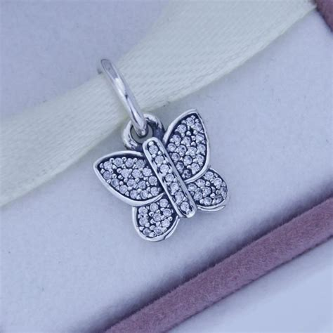Butterfly Silver Dangle With Cubic Zirconia P 173 butterfly silver dangle with cubic zirconia
