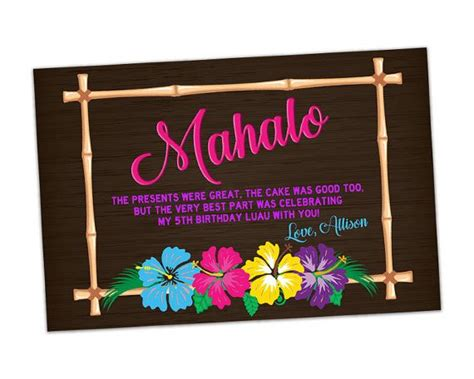 hawaiian thank you card template best 25 thank you in hawaiian ideas on