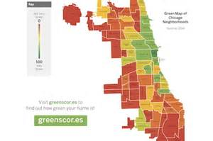 chicago map bad areas how green is your neighborhood new app reveals some surprises downtown chicago dnainfo