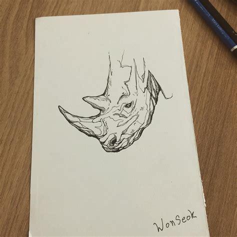 tattoo sketch pen 코뿔소 도안 rhinoceros design illust tattoo design