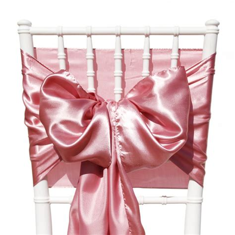 satin wedding party chair sashes dusty dusky rose pink