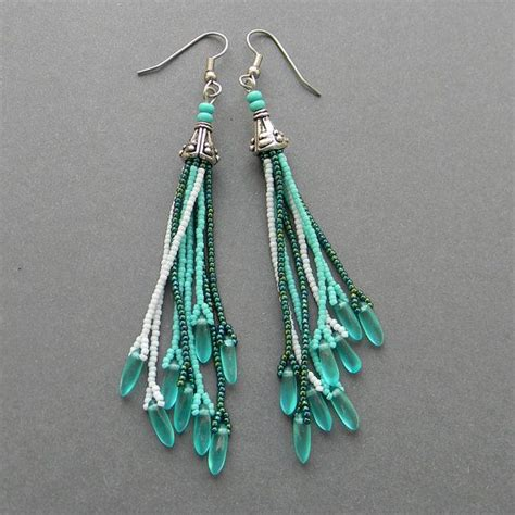 beaded fringe earrings tutorial turquoise seed bead earrings par anabel27shop sur etsy