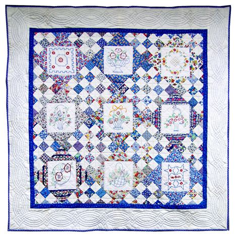 Quilts With Embroidered Blocks by Embroidered Basket Quilt Q Is For Quilter