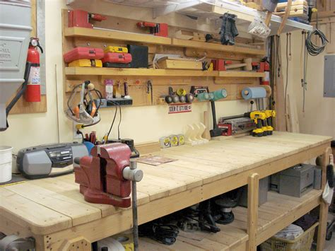 workshop work bench build your own garage workbench mr done right