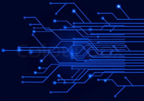 dark electronic wallpaper circuit board on a dark blue background stock photo