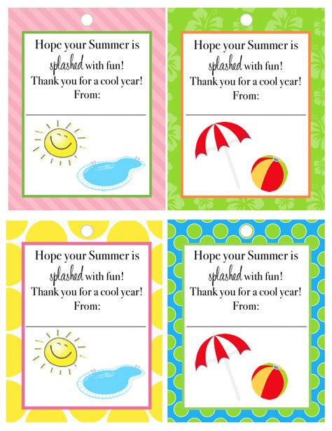 free printable gift tags summer end of year teacher gift free printable tags laura s