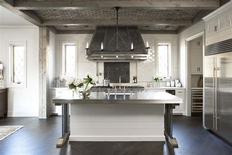 parisian kitchen design linear iron chandelier transitional kitchen linda