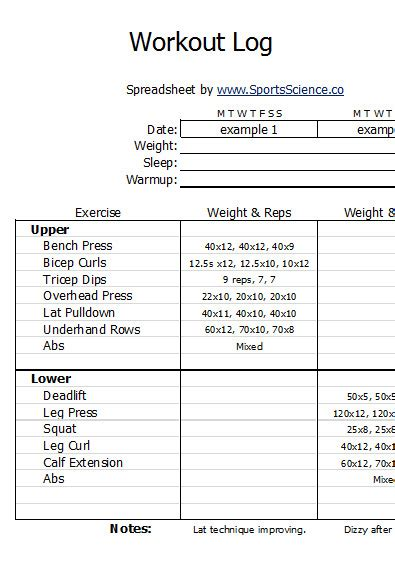 free sle weight lifting log template