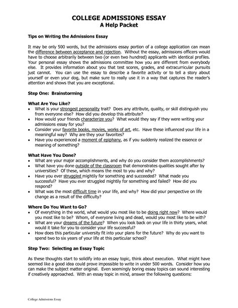 College Essay Structure by Format College Application Essay Template