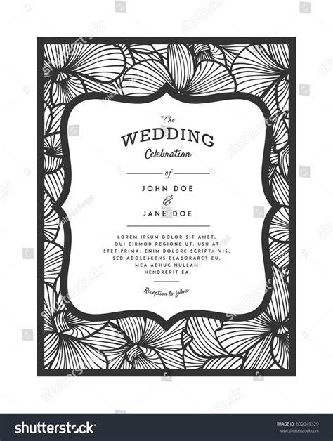 paper cutting card orchid template laser cut vector wedding invitation orchid stock vector