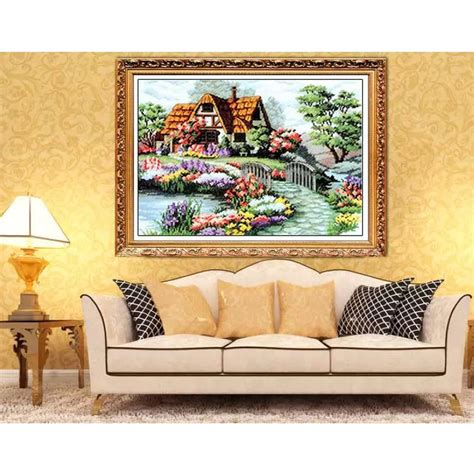 Countryside Decor by Cotton Thread Counted Cross Stitch Embroidery Kit Set