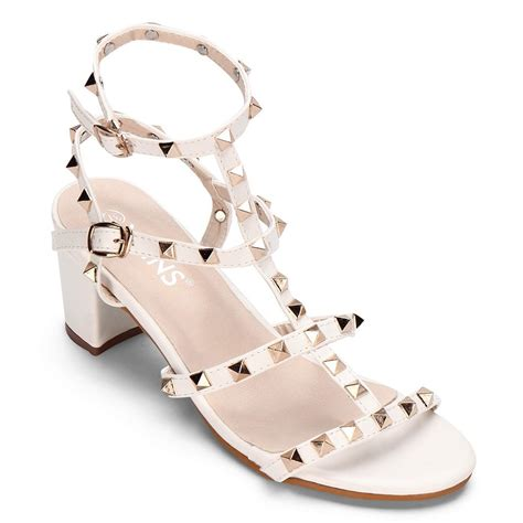 Wedges White Cf Sepatu Murah white t bar design rivets embellishment block heel gladiator sandals us 45 95 yoins