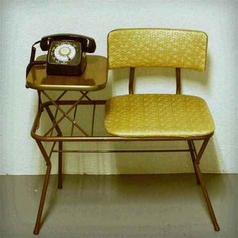 Vintage telephone table gold and brown gossip center