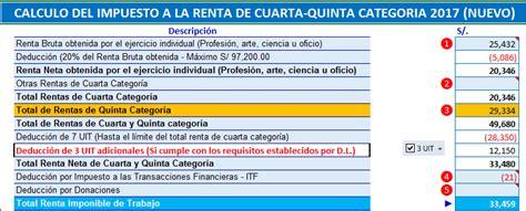 calculo de impuesto a la renta 5ta categoria newhairstylesformen2014 formato en excel para c 225 lculo del impuesto a la renta de