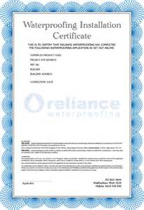 Installation Certificate Template Reliance Waterproofing