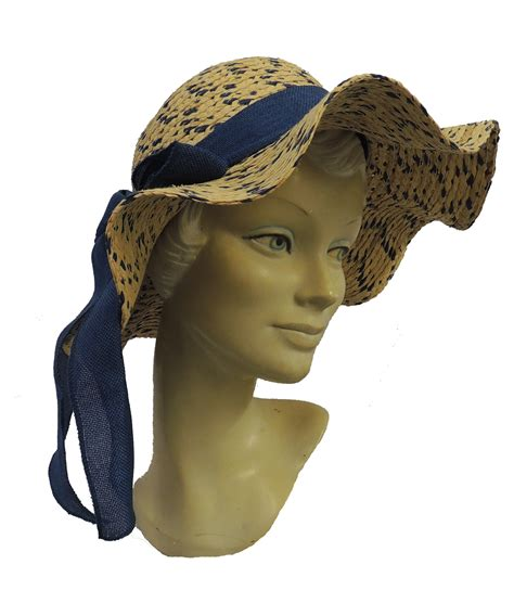 New Vintage Hats At Candysayscouk by New Retro Blue Brown Wide Brim Raffia Straw Sun Hat 1920