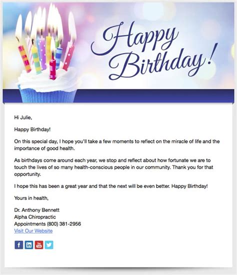 birthday card email template patient birthday emails patients chiropractic