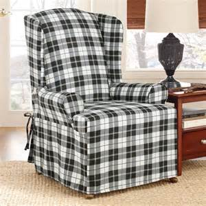 surefit soft suede plaid wing chair slipcover walmart