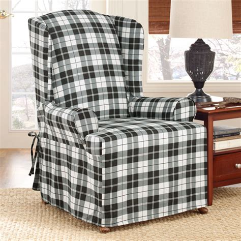 surefit soft suede plaid wing chair slipcover walmart com