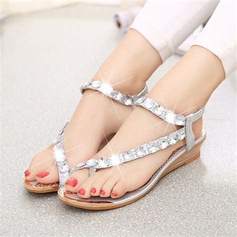 s sandals with bling 2017 summer sandals bling rhinestone flats platform