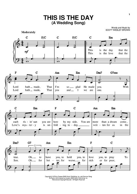 wedding song free this is the day a wedding song sheet for piano