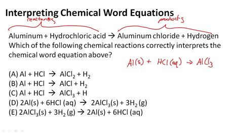 interpreting chemical word equations youtube
