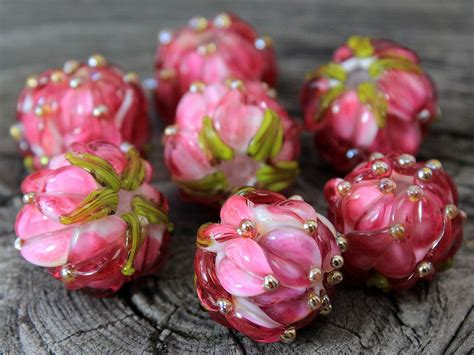 Handmade Floral Lampwork Beads SRA Lampwork Glass Beads