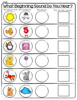 kindergarten activities phonemic awareness sensational sounds worksheets beginning middle ending