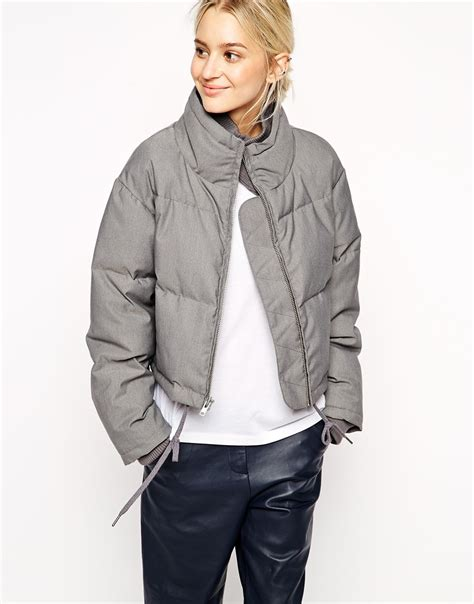 asos grey marl quilted jacket in gray lyst