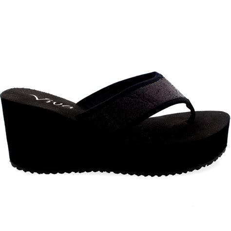 high heeled flip flops wedge womens open toe flip flops glitter high heel platform