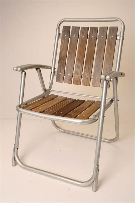 vintage aluminum folding lawn chair redwood patio metal red