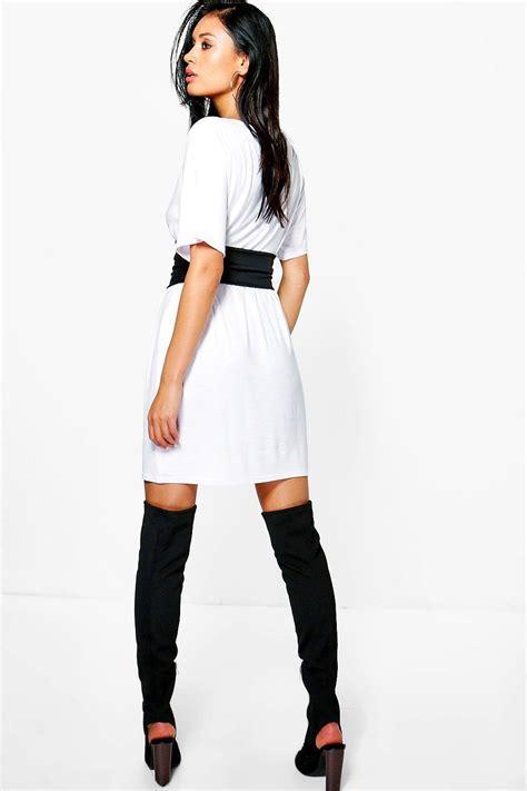 boohoo womens 2 in 1 corset belt t shirt dress ebay